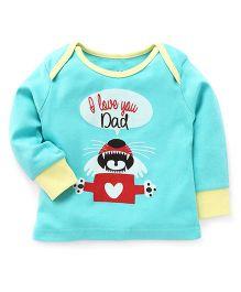 Pinehill Full Sleeves Sweatshirt I Love You Dad Print - Light Green