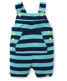 Pinehill Striped Dungaree With Kangaroo Pocket - Teal Blue