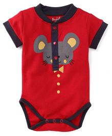 Pinehill Half Sleeves Printed Onesie - Red