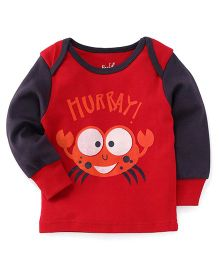 Pinehill Full Sleeves Sweatshirt Crab Print - Black & Red
