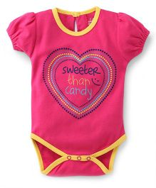 Pinehill Half Sleeves Sweeter Than Candy Printed Onesie - Pink