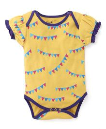 Pinehill Puff Sleeves Flag Banner Print Onesie - Yellow