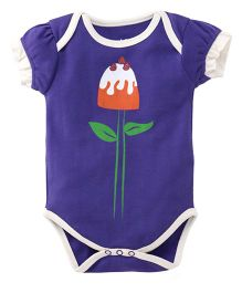 Pinehill Half Sleeves Onesie Flower Print - Purple