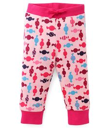 Pinehill Candy Print Full Length Track Pant - Pink