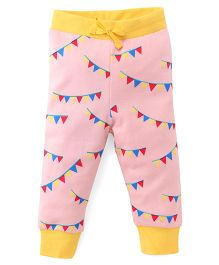 Pinehill Flag Banner Print Full Length Track Pant - Pink Yellow