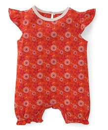 Pinehill Cap Sleeves Romper Floral Print - Orange