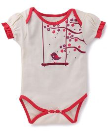 Pinehill Half Sleeves Onesie Bird Print - Pink