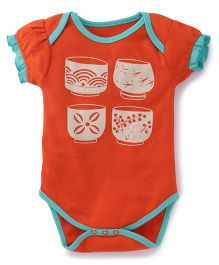 Pinehill Half Sleeves Onesie Bowls Print - Orange