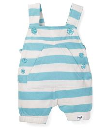 Pinehill Stripes Print Dungaree - White And Aqua