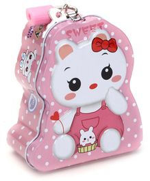 Sweet Bunny Coin Bank With Lock and Key - Pink