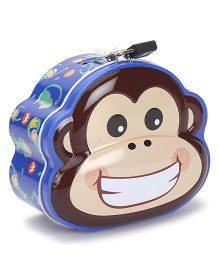 Monkey Printed Coin Bank With Lock And Key - Blue