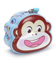 Monkey Printed Coin Bank With Lock And Key - Light Blue