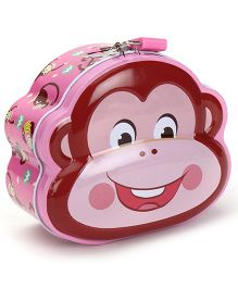 Monkey Printed Coin Bank With Lock And Key - Pink