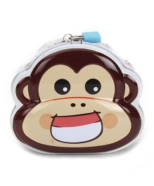 Monkey Printed Coin Bank With Lock And Key - White