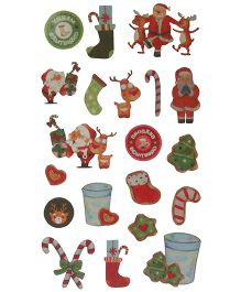 X'Mas By Shopaparty Merry Christmas Tattoo Stickers 2 Sheets - Multicolour