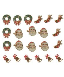 X'Mas By Shopaparty Christmas Wreath Socks Bells & Santa Nail Stickers 2 Sheets - Multicolour