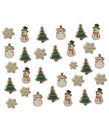 X'Mas By Shopaparty Snowflakes Snowman & Christmas Tree Nail Stickers 2 Sheets - Multicolour