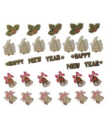 X'Mas By Shopaparty Happy New Year & Christmas Nail Stickers 2 Sheets - Multicolour