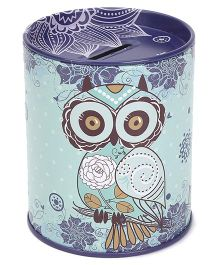 Owl Printed Coin Bank - Green And Blue