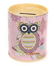 Owl Printed Coin Bank - Pink And Yellow