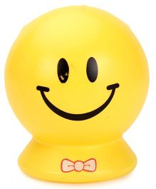 Smiley Face Printed Round Shape Piggy Bank - Yellow