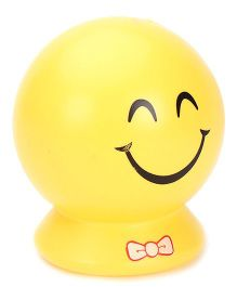 Smiley Face Printed Ball Shape Piggy Bank - Yellow
