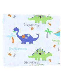 Owen Flat Sheet Dinosaur Print - White