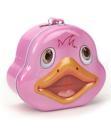 Duck Printed Coin Bank With Lock And Key - Pink