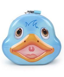 Duck Printed Coin Bank With Lock And Key - Blue