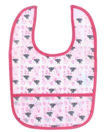 Honey Bunny Bib With Pocket Bird Print - Pink White