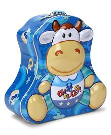 Cow Printed Coin Bank With Lock And Key - Blue
