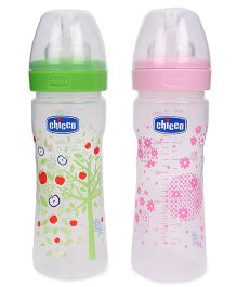 Chicco Well Being Feeding Bottle Pink and Green - 250 ml
