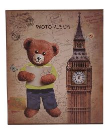 Bear With Book And Tower Printed Photo Album - Coffee Brown