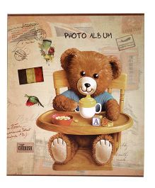 Bear With Chair Print Photo Album - Coffee Brown