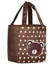 EZ Life Bear Print Kids Thermal Lunch Bag - Brown