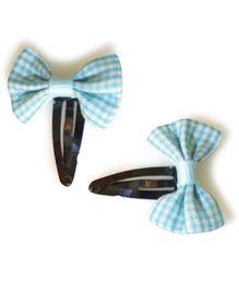 Tiny Closet Set Of 2 Checkered Bow Snap Clips - Sky Blue