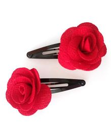 Tiny Closet Set Of 2 Rose Shaped Felt Snap Clips - Red