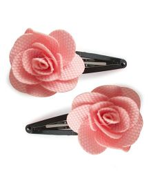 Tiny Closet Set Of 2 Rose Shaped Felt Snap Clips - Baby Pink