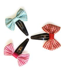Tiny Closet Set Of 3 Ribbon Flower Snap Clips - Pink Red & Blue