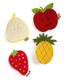 Tiny Closet Set Of 4 Fruit Shaped Aligator Hairclips - Multicolour
