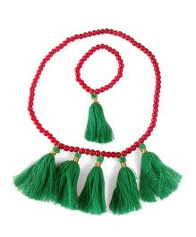 Tiny Closet Tassel Pearl Necklace & Bracelet Set - Green