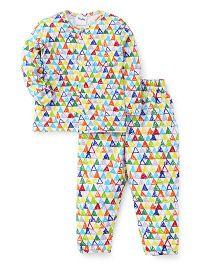 Playbeez Triangles Print  Top & Pyjama Set - Multicolour