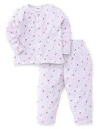Playbeez Cherry Print Top & Pyjama Set - White & Pink