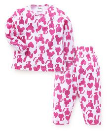 Playbeez Cat Print Top & Pyjama Set - Pink & White