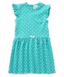 Playbeez Polka Dot Print Dress - Green