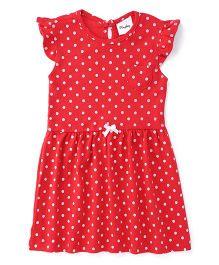 Playbeez Polka Dot Print Dress - Red