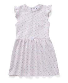 Playbeez Stars Print Dress - White & Pink