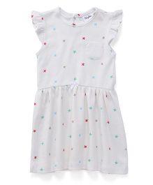 Playbeez Stars Print Dress - White