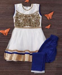 Mukaam Indian Anarkali Set With Embroidery - White & Blue