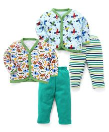 Animal Printed Sets Of 2 Vests & Pyjamas - Green & White